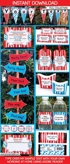 Dr Seuss Party Printables, Invitations & Decorations   Dr Suess Birthday Party   Theme Templates   $12.50 via SIMONEmadeit.com   Everything you could possibly need for a Dr Suess Party!