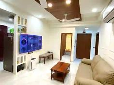 Modern and spectacular interiors for a home in Noida | homify Pvc Ceiling Design, Modern House Design, Modern Decor, Minimalism, Wall Units, Living Room, Interior Design, Lehenga, Apartments