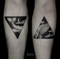 Creative split tattoo by Brezinski Ilya.