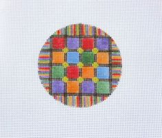 Beautiful Bright Colored Blocks & Stripes Handpainted Needlepoint Canvas #Unbranded