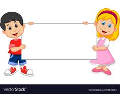 Cartoon Boy and girl holding blank sign Royalty Free Vector School Cartoon, Cartoon Boy, Cartoon Memes, Cartoon Characters, Creative Writing For Kids, Powerpoint Background Templates, School Border, Kindergarten Portfolio, Blank Sign