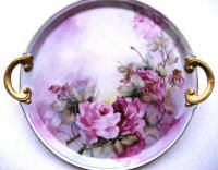 Tray with hand painted pink Roses, finished with 45% Roman Gold.