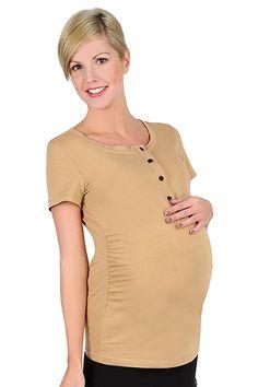 Béžové těhotenské tričko na kojení s krátkým rukávem Tunic Tops, Fashion, Moda, Fashion Styles, Fashion Illustrations