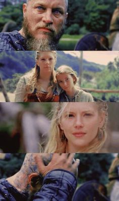 This is an image Ragnar sees in France- I think these seethe two women who hold his heart- Lagertha and Gyda. I don't think he has been happy truly happy since Gyda dies if the plague. This hallucination I think shows Ragnar's true hearts yearning. A farm Lagertha and Gyda ..