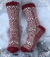 Ravelry: Rokkosokken pattern by Gro Andersen Knitted Slippers, Wool Socks, Knitting Socks, Hand Knitting, Knitting Patterns, Ravelry, Knit Shoes, Patterned Socks, Designer Socks
