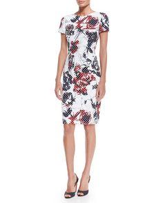B327E Carolina Herrera Rose & Dot-Print Sheath Dress, Red/Navy/White