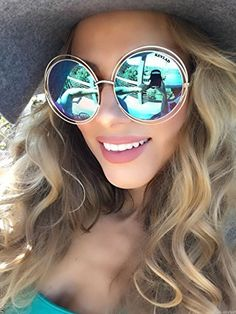 d82c4a0c92 Amazon.com  KEVLAD XXL Halo ROXANNE Oversized Round Coachella Mirrored  Sunglasses for Women - Bohemian Style Golden Double Wire Frame with  Turquoise Lenses  ...