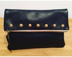 Black leather clutch with Ethnic stamping by bellerahandbags