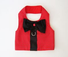 Red Swiss Dot Harness Vest for the Boy Dog Clothes on Etsy, $18.00