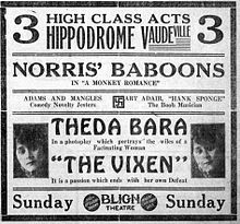 Newspaper ad for The Vixen (1916) starring Theda Bara..