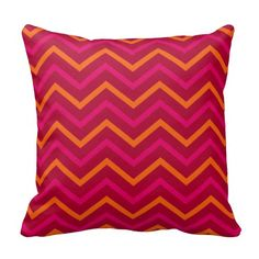 Retro Red Orange Hot Pink Chevron Zig Zag Pattern Throw Pillow