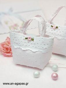 Μπομπονιέρα Βάπτισης Τσαντάκι Ροζ Ανάγλυφο Pom Pom Fabric Handbags, Barbie, Wedding Trends, Bag Making, Handmade Items, Hams, Tote Bag, Purses, Projects