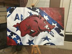 Razorback on Arkansas flag. 24x36 canvas