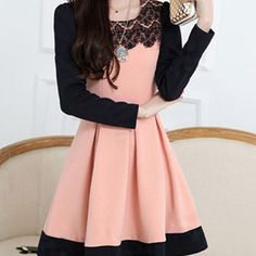 Elegant Round Collar Lace Splicing Waisted Corset Long Sleeve Dress
