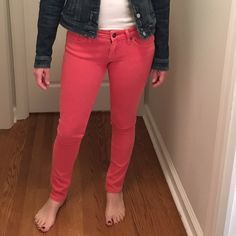 """Coral skinny jeans Coral skinny jeans in excellent condition. They are made of a blend of recycled cotton, cotton and spandex. They are very stretchy. Low waist, size 28, and I shortened them to 32"""" (originally 34"""") The brand is Reuse and they were purchased at Posche (from RHONJ). Kim D sold them to me! They are great jeans! There is just the tiniest tiny pull on the back. Reuse Jeans Skinny"""