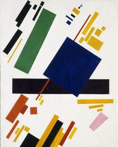 Kazimir Malevich - Suprematist composition  (blue rectangle over purple beam)   1916