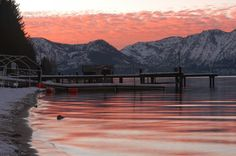 Looks like the sunsets off our pier in Tahoe! Lake Tahoe Nevada, South Lake Tahoe, Lac Tahoe, Zephyr Cove, Tahoe City, Reno Tahoe, Places In California, Dream Trips, Winter Sunset