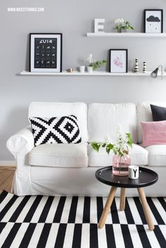 Nicest Things: Scandinavian Home Living Room Wohnzimmer Normann Copenhagen Ikea Design Letters Kähler Ektorp blanck and white noir et blanc gris grey graphique by maggie Living Room Grey, Home Living Room, Living Room Designs, Living Room Decor, Ikea Design, Ikea Ektorp, Ektorp Sofa, Scandinavian Home, Home And Deco