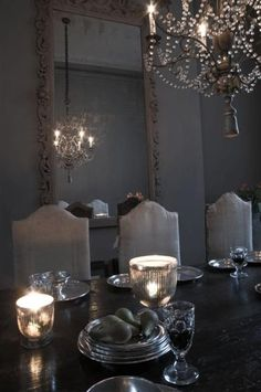 Dining room in gray tones & candlelight