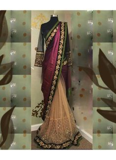 New Joya Silk Purple & Cream Saree