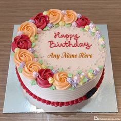 Write Name On Colorful Flower Happy Birthday Cake Images Colorful Birthday Cake, Happy Birthday Cake Images, Birthday Cake With Photo, Birthday Cake With Flowers, Special Birthday Wishes, Birthday Wishes Greetings, Buttercream Birthday Cake, Cake Templates, Cake Name