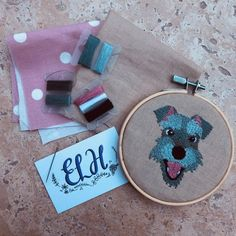 Your place to buy and sell all things handmade Embroidered Gifts, Glue Gun, Embroidery Kits, Schnauzer, Fabric Patterns, Linen Fabric, Make Your Own, Coin Purse, Cartoon
