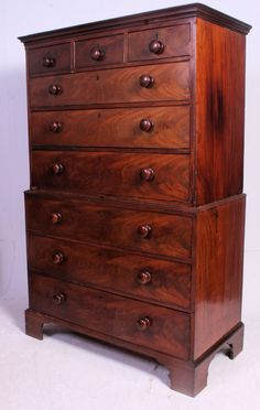 Good Antique 19th Century Victorian Flame Mahogany Chest On Chest Of Drawers