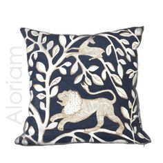 """Dwell Studio Pantheon Folk Art Animals Forest Navy Blue Ivory Decorative Throw Pillow Cushion Cover Case Invisible Zipper 18"""" 20"""" 22"""""""