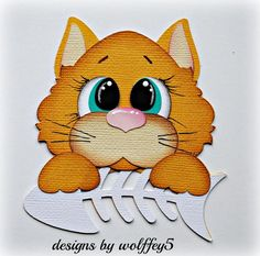 CRAFTECAFE CAT XMAS paper piecing premade scrapbook album card die cut WOLFFEY5 #wolffey5