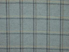 Highland Wool Tartan Check Duck Egg Curtain & Upholstery Fabric - The Millshop Online.  This print in a throw.