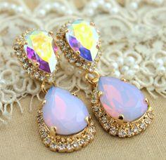 Statement chandelier Pink blush opal earring Bridal by iloniti, $85.00