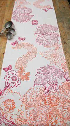 Linen mix Table Runner Hand block printed Eden In Bloom