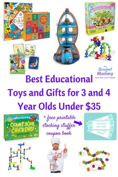 A curated list of the best educational toys and gifts for 3 and 4 year old boys and girls under $35. Includes a free printable Children's Coupon Book of fun experiences kids can redeem from you all year long (perfect frugal stocking stuffer!)