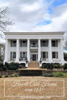 Howell and Mary Ann Lamar Cobb built this house as newlyweds around Beautiful Greek Revival home and love the Christmas décor. Greek Revival Architecture, Southern Architecture, Classical Architecture, Architecture Design, Old Southern Homes, Plantation Style Homes, Greek Revival Home, Colonial Exterior, Old Abandoned Houses