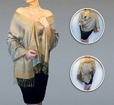 Pewter Grey Shawl With Dark Gold Border :: Wedding Wrap. This classic pewter grey shawl with dark gold border is a sophisticated accessory for a wedding, luncheon or any elegant event. ZiiCi shawls have a unique adjustable elastic neckline that allows you to wear it dozens of ways without any tying or pinning. Just pull the inner cord lock and in an instant you've got a whole new outfit. This year-round product can be worn as a stole, tunic, cape, pashmina scarf, open vest, halter top…