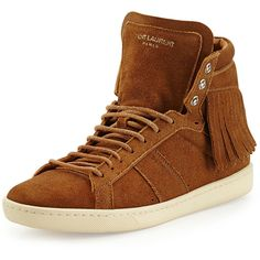 Saint Laurent Suede Fringe High-Top Sneaker ($710) ❤ liked on Polyvore featuring shoes, sneakers, lace up sneakers, high top shoes, flat lace-up shoes, lacing sneakers and yves saint laurent