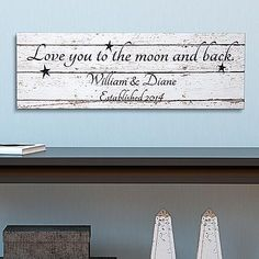 Love You to the Moon and Back Canvas - A Personal Creations Exclusive! Brighten your day and your home with our cheerful art canvas.