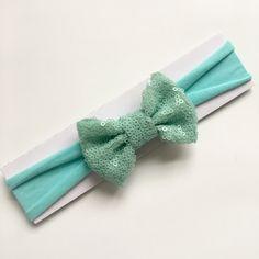Seafoam and Aqua Sequin Bow Headband | baby girl headband | toddler headband | soft jersey headband by littlechancesdesigns on Etsy https://www.etsy.com/listing/501332038/seafoam-and-aqua-sequin-bow-headband