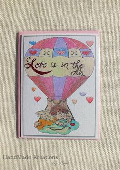 An Adorable Cupid Valentine Card Love Is In The Air Greetings by HMKreations