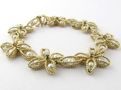 Vintage 14 Karat Yellow Gold Pearl and Sapphire Bracelet #2119