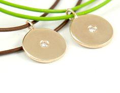 Diamond Coin Diamond Charm 14K Gold Necklace by Tulajewelry, $210.00