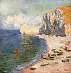 Claude Monet-The Beach and the Falaise d'amont