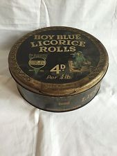 Vintage Retro Antique Collectible George W. Horner Boy Blue Licorice Rolls Tin