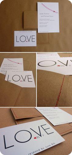 I heart you Wedding invitation set!