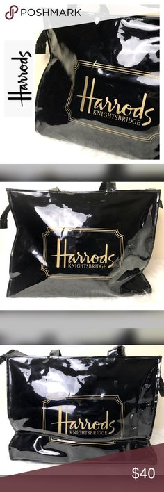"""Harrod's Signature Faux Patent Leather Tote Bag Harrod's Signature Faux Patent Leather Tote Bag in Classic Black with Gold Print, Zip Top Closure, Measures Approx. 11 1/2""""x 15 1/2""""x 4 1/2"""" with a 14"""" Drop Handle, Used in Good Condition Harrods Bags Totes"""