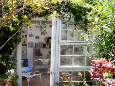 recycled window conservatory: absolutely beautiful.  i think this would be an awesome studio.