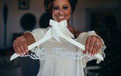 Personalized Wedding Hanger with Custom Bride Name, Bridal Hanger, Wedding Gown Hanger EL019