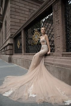 inbal dror 2016 wedding dress with strapless sweetheart fit flare mermaid wedding dress taupe color train style 05 1