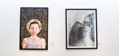 """Left: """"Honey Lips"""" by Abraham Peréz.           Right: """"Retrato Urbano"""" by Mary Rosa Jiménez."""
