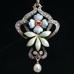 antique art nouveau diamond and enamel pendant